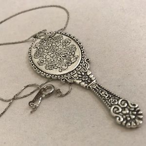 Jewelry - 18kGP stamps chain with real mirror pendant